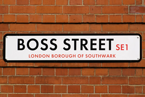 Leadership Styles (Boss Street sign)