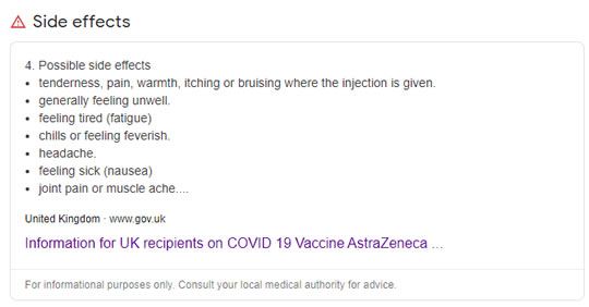 AstraZeneca jab possible side-effects Google snippet.