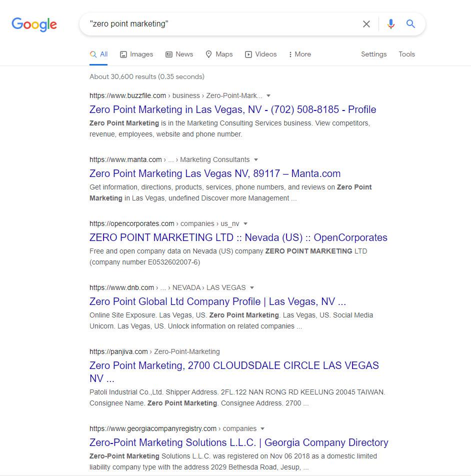 Zero Point Marketing - Exact match in the Google SERPs.