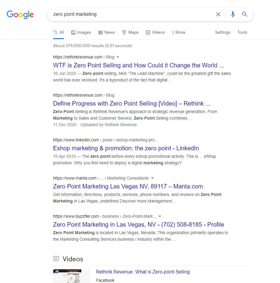 Zero Point Marketing - Google SERPs.